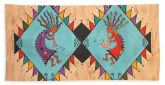 Bath Towel featuring the painting Kokopelli Jammin by Susie WEBER