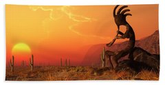Kokopelli Sunset Hand Towel by Daniel Eskridge