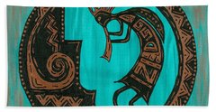 Bath Towel featuring the painting Kokopelli by Susie WEBER