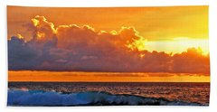 Hand Towel featuring the photograph Kona Golden Sunset by David Lawson