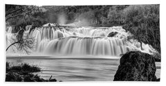 Krka Waterfalls Bw Bath Towel