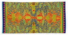 Bath Towel featuring the digital art Kuna Bird Spirits by Vagabond Folk Art - Virginia Vivier