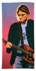 Kurt Cobain In Nirvana Painting Hand Towel by Paul Meijering