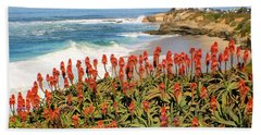 La Jolla Coast With Flowers Blooming Bath Towel