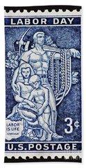 Labor Day Vintage Postage Stamp Print Bath Towel by Andy Prendy
