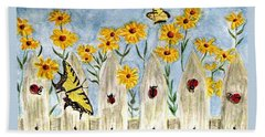 Hand Towel featuring the painting Ladies In The Garden by Angela Davies