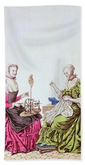Ladies Spinning And Sewing, C.1765 Colour Engraving Hand Towel