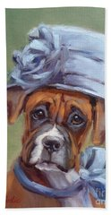 Lady Boxer With Blue Hat Bath Towel