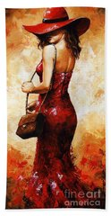 Lady In Red  30 Bath Towel
