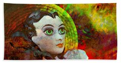 Bath Towel featuring the mixed media Lady In Red by Ally  White
