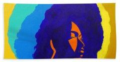 Bath Towel featuring the painting Lady Indigo by Apanaki Temitayo M