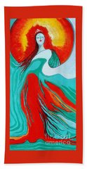 Hand Towel featuring the painting Lady Of Two Worlds by Alison Caltrider