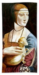 Hand Towel featuring the painting Lady With An Ermine by Henryk Gorecki