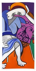 Lady With Blue Dress Hand Towel