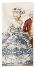 Lady With Her Husband Attending A Court Bath Towel