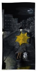 Lady With Yellow Umbrella And White Dog Hand Towel