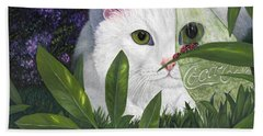 Ladybugs And Cat Hand Towel