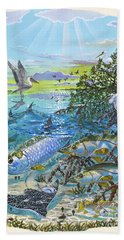 Lagoon Hand Towel by Carey Chen