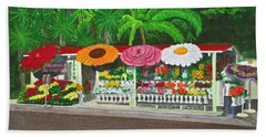 Laguna Beach Flower Stand Hand Towel by Mike Robles