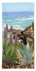 Laguna Coast With Flowers Bath Towel