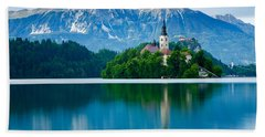 Lake Bled Island Church Bath Towel