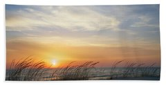 Lake Michigan Sunset With Dune Grass Hand Towel by Mary Lee Dereske