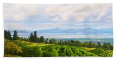 Bath Towel featuring the painting Lake Naivasha From Home by Anthony Mwangi