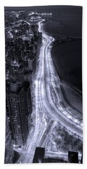 Lake Shore Drive Aerial  B And  W Hand Towel by Steve Gadomski