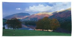 Lake Surrounded By Mountains, Grasmere Hand Towel