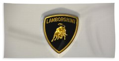 Bath Towel featuring the photograph Lamborghini Badge by Mike Martin