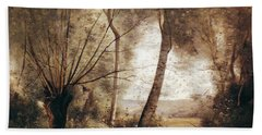 Landscape Oil On Canvas Hand Towel