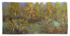 Landscape River And Trees Paintings Hand Towel