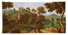 Landscape With A River Oil On Canvas Hand Towel