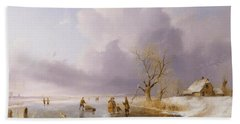 Landscape With Frozen Canal Hand Towel