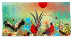 Landscapes With Birds And Red Sun - Limited Edition Of 15 Bath Towel