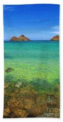 Lanikai Beach Sea Turtle Hand Towel by Aloha Art