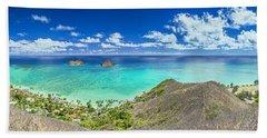 Lanikai Bellows And Waimanalo Beaches Panorama Hand Towel by Aloha Art