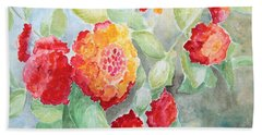 Hand Towel featuring the painting Lantana II by Marilyn Zalatan