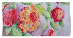 Hand Towel featuring the painting Lantana by Marilyn Zalatan