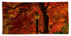 Lantern In Autumn Bath Towel by Susanne Van Hulst