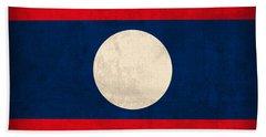 Laos Flag Vintage Distressed Finish Bath Towel