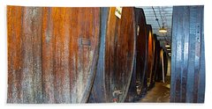 Large Barrels At Korbel Winery In Russian River Valley-ca Bath Towel