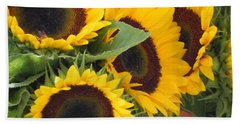 Large Sunflowers Bath Towel by Chrisann Ellis