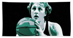Larry Bird Poster Art Hand Towel by Florian Rodarte