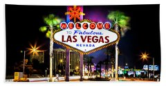 Las Vegas Sign Bath Towel by Az Jackson