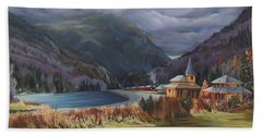 Hand Towel featuring the painting Last Train To Crawford Notch Depot by Nancy Griswold