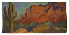 Late Afternoon Light At Superstition Mountain Hand Towel by Diane McClary