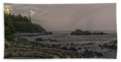 Hand Towel featuring the photograph Late Afternoon Sun On West Quoddy Head Lighthouse by Marty Saccone