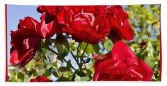 Hand Towel featuring the photograph Late Summer Roses - Vibrant by Maria Janicki