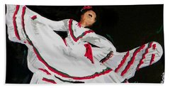 Hand Towel featuring the painting Latin Dancer by Marisela Mungia